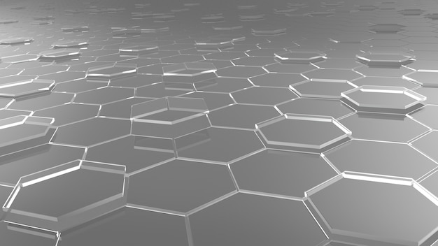 Glass hexagons on floor, crystal glass,  3d render.
