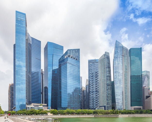Glass high skyscrapers in the center of singapore on the waterfront