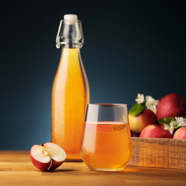 Glass of homemade apple cider or juice