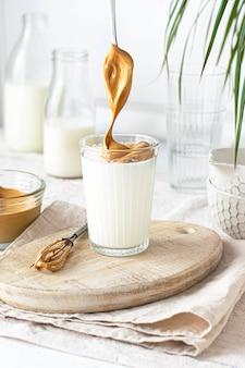 A glass of homemade dalgona coffee