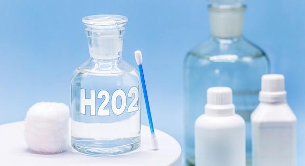 Стеклянный контейнер для больницы с антисептиком, надпись h2o2, концепция первой помощи