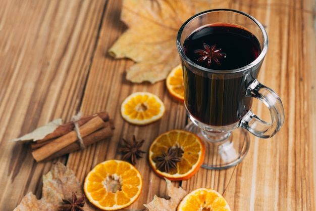 Glass of hot mulled wine alcohol
