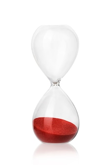Glass hourglass with reflection isolate on a white background