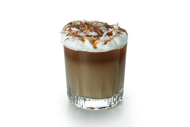 Glass of ice coffee with foam isolated on white