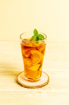 Glass of ice lemon tea