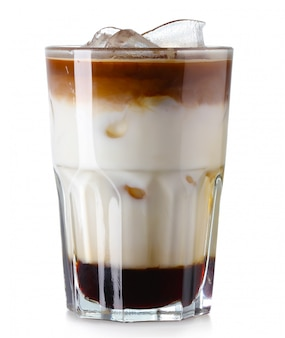 Glass of iced coffee isolated on white