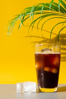 A glass of iced coffee with iced cube and coconut leaf on brown and yellow background. summer drink concept.