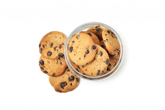 Glass jar with chocolate chip cookies isolated on white background