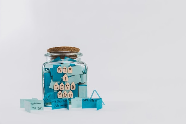 Glass jar with the message