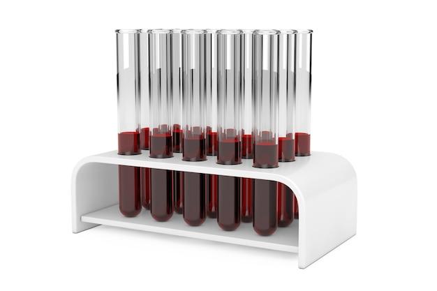 흰색 바탕에 홀더에 혈액 샘플이 있는 유리 실험실 화학 테스트 튜브 플라스크. 3d 렌더링