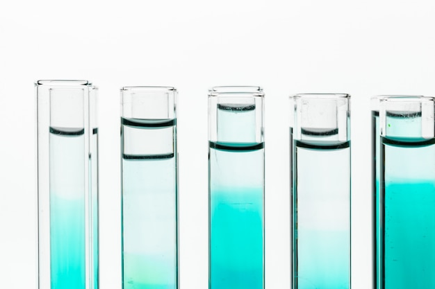 Glass laboratory chemical test tubes with liquid