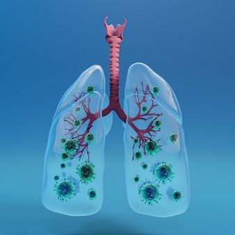 Glass lung with covid 19 , coronavirus 2019-n, microscopic view of floating influenza virus cells. 3d rendering.