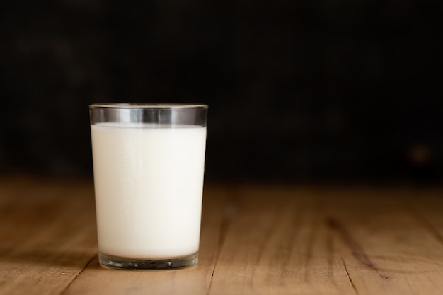 Glass of milk against