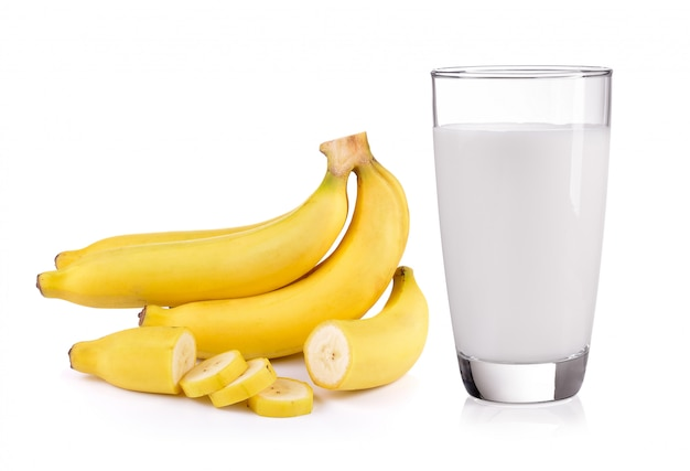 Glass of milk and banana isolated