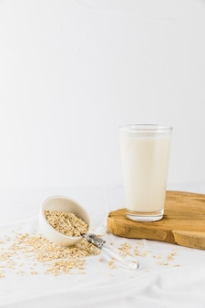 Glass of milk and cereals