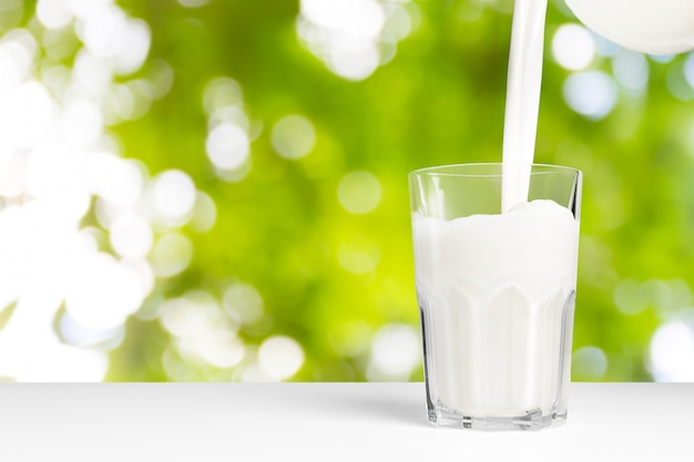 A glass of milk on a natural background