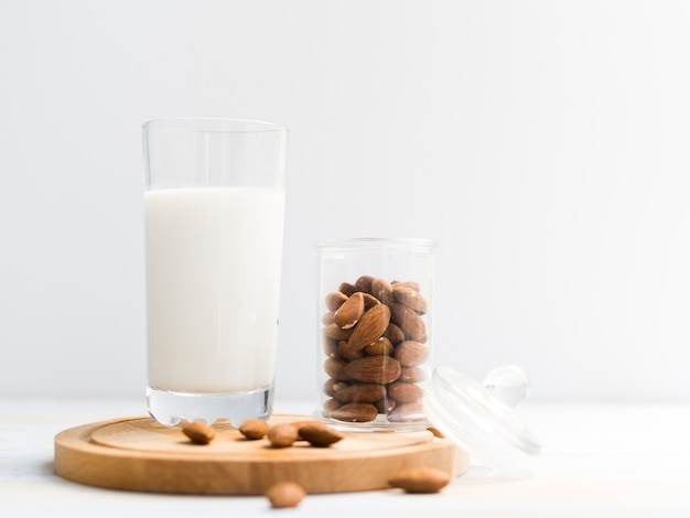 Glass of milk with almonds