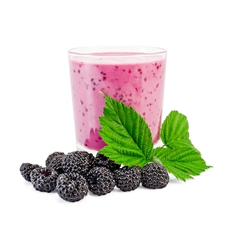The glass of milkshake, berries and green twig blackberry isolated on white background