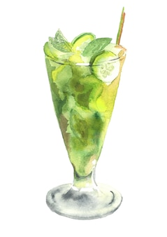 Glass of mojito isolated on white