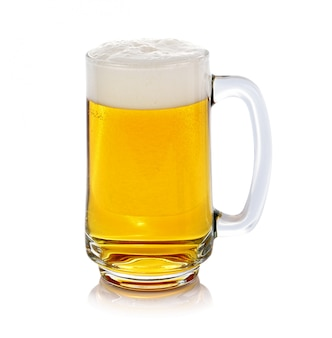 Glass of fresh beer isolated on white background.