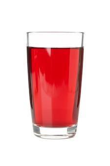 白で隔離される新鮮なブドウジュースのガラス