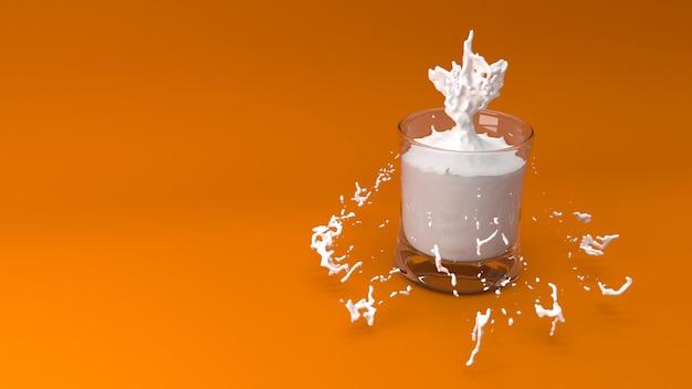 우유 3d 렌더링의 유리