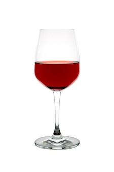 分離された白い背景の上の赤ワインのガラス