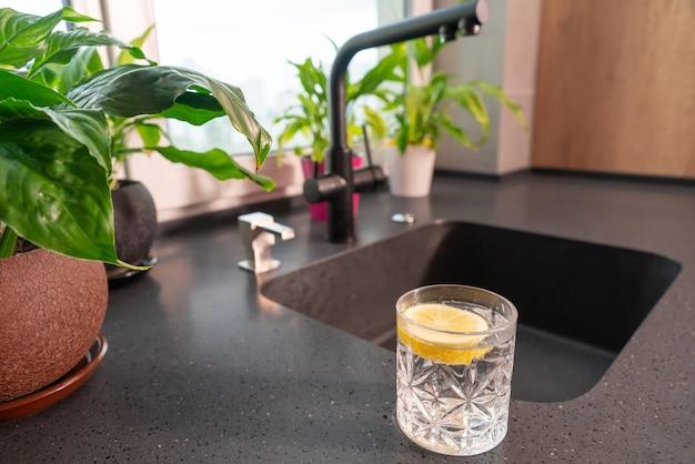 Стакан освежающей чистой воды со свежим лимоном стоит на кухонной стойке рядом с раковиной в окружении зеленых листовых растений в горшках.
