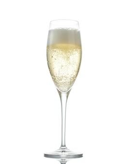 Бокал игристого вина (шампанского) изолированного на белом фоне