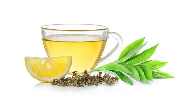 お茶と茶葉のガラス