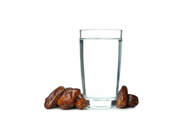 白で隔離の水と日付のガラス