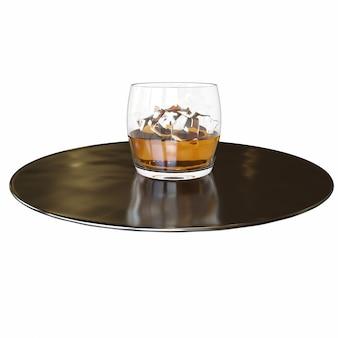 氷の3dイラストとウイスキーのガラス