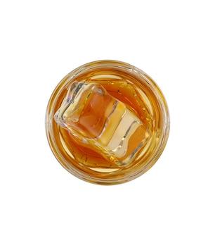 氷とウイスキーのガラス、上面図