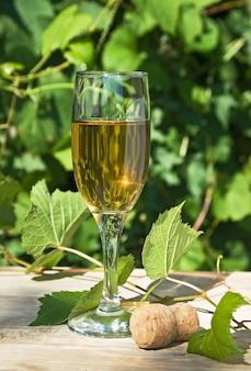 ブドウ畑の背景にワインのグラス