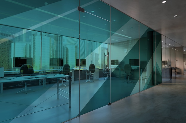 Glass office room wall mockup