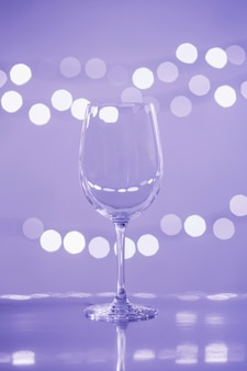 Glass on lilac background