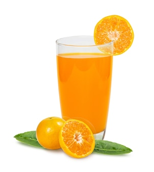 Glass of orange juice with pulp and sliced fruits