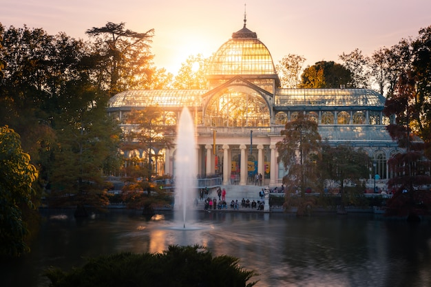 Glass palace in retiro park at the center of madrid, spain.