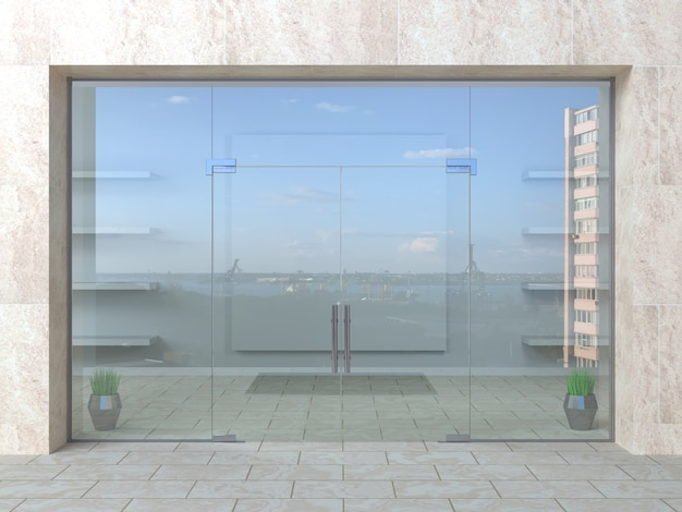 Glass partition and doors in hall