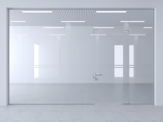 Glass partition and doors in office or shop hall.