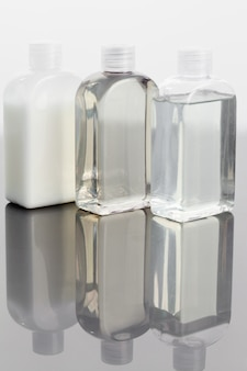Glass phials on a mirror