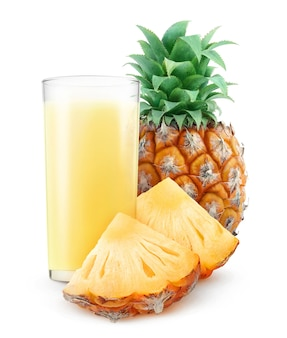 Glass of pineapple juice and pieces of pineapple isolated on white background