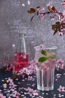 Glass of pink rose champagne with ice and mint. blossom cherry branches above and scattered cherry blossoms