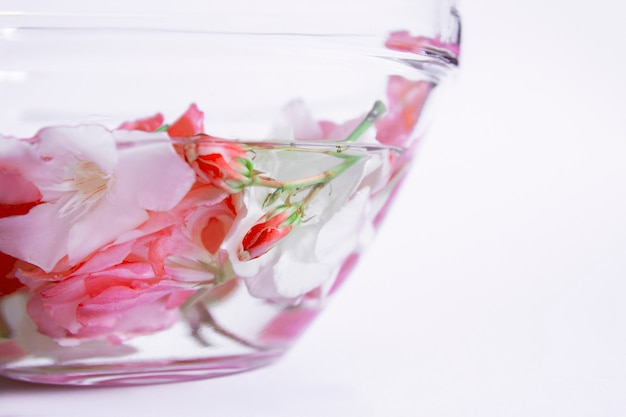 Glass plate with water and flowers, spa manicure treatment, top view, spa aroma bowl for hands
