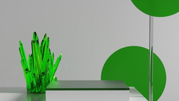 ガラスの表彰台、製品展示スタンドは緑色。