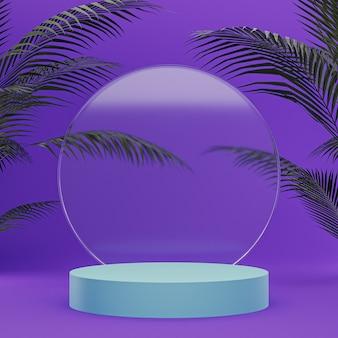 유리 연단은 제품 배치를 위해 미래의 보라색 배경에 서 있습니다.