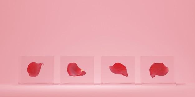 ピンクの背景と製品のプレゼンテーションのためのガラスのバラのガラスの表彰台3dレンダリング