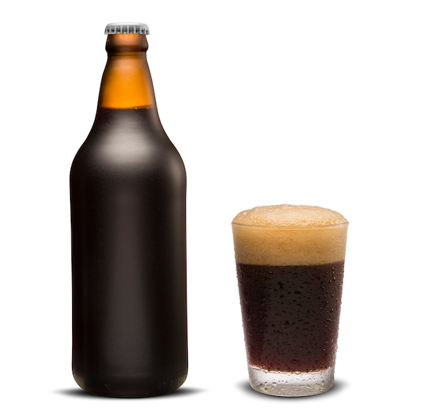 Glass of porter beer and brown bottle isolated on a white background