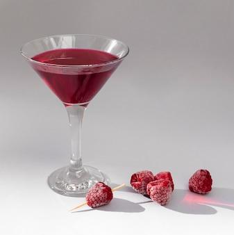 Glass of raspberry juice