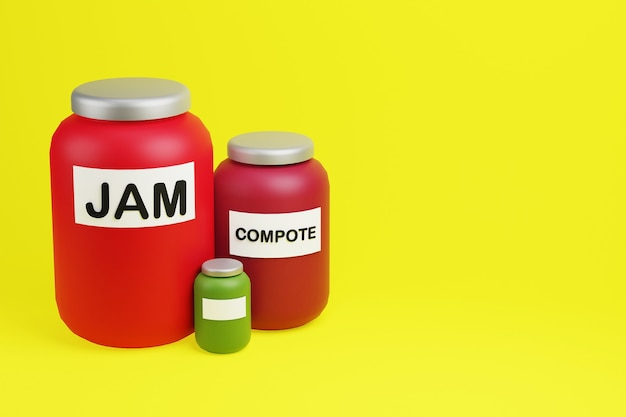 Glass red jars of jam and compote 3d illustration